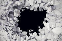 explosión de la representación 3d, muro de cemento agrietado, agujero de bala, destrucción, fondo abstracto 3d Fotos de archivo libres de regalías
