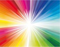Explosión de las luces del rayo del arco iris stock de ilustración