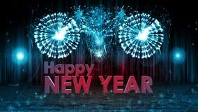 Explosión de los fuegos artificiales al AZUL de la leva de la cacerola de la etapa de la Feliz Año Nuevo ilustración del vector
