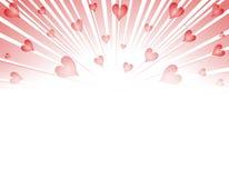 Explosión de los fuegos artificiales de los corazones de la tarjeta del día de San Valentín Fotografía de archivo libre de regalías
