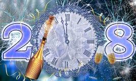 Explosión de los fuegos artificiales y del champán del ` s Eve 2018 del Año Nuevo Foto de archivo