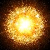 Explosión de oro abstracta con los elementos del oro Imagen de archivo