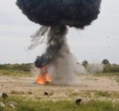 Explosión del coche Imágenes de archivo libres de regalías