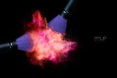 Explosión del color con los cepillos del maquillaje que aplican el polvo aislado encendido Imagen de archivo libre de regalías