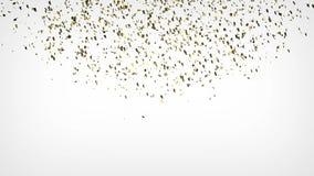 Explosión del confeti del oro que baja abajo en el fondo blanco 4K almacen de metraje de vídeo