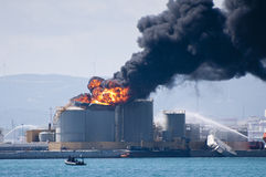 Explosión del depósito de gasolina de Gibraltar Fotos de archivo libres de regalías