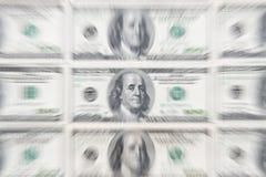 Explosión del enfoque del dinero de la impresión del negocio de efectivo del dólar Imágenes de archivo libres de regalías