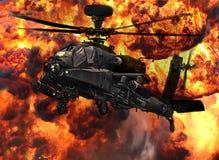 Explosión del helicóptero de la cañonera de Apache Imagen de archivo libre de regalías