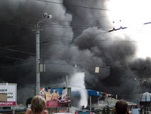 Explosión del mercado de Slavyansky en Dnipropetrovsk Foto de archivo libre de regalías