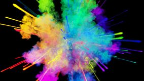 Explosión del polvo aislada en fondo negro animación 3d de partículas como efectos coloridos del fondo o de las capas almacen de video