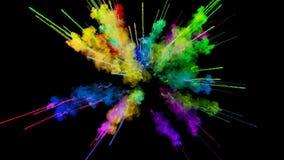 Explosión del polvo aislada en fondo negro animación 3d de partículas como efectos coloridos del fondo o de las capas ilustración del vector
