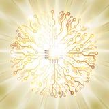 Explosión del sol de la placa de circuito del vector Imagen de archivo