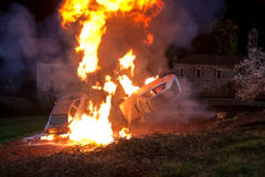 Explosión. Explosion controlled two vehicles, during the filming of a movie Royalty Free Stock Photography
