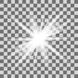 Explosión ligera blanca de la explosión que brilla intensamente con transparente Fotografía de archivo