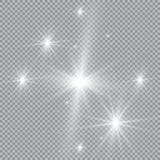 Explosión ligera blanca de la explosión que brilla intensamente con transparente El ejemplo del vector para la decoración fresca  Imagen de archivo