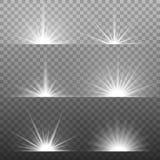 Explosión ligera que brilla intensamente blanca en fondo transparente stock de ilustración