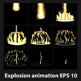 Explosión, marcos de la animación de la explosión de la historieta para el juego Hoja de Sprite en fondo oscuro Fotografía de archivo