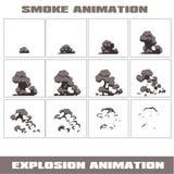 Explosión, marcos de la animación de la explosión de la historieta para el juego Hoja de Sprite en fondo oscuro Animación del hum Fotografía de archivo