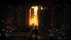 Explosión nuclear en ciudad ilustración del vector
