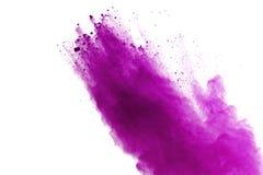 Explosión púrpura abstracta del polvo en el fondo blanco resuma el polvo coloreado splatted, movimiento del helada del estallido  fotografía de archivo libre de regalías