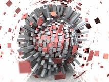 explosión roja de la esfera del metal 3D ilustración del vector