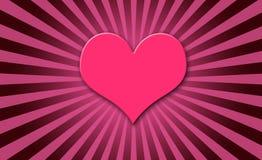 Explosión rosada del sol del corazón Foto de archivo
