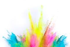 Explosi?n coloreada del polvo en el fondo blanco fotografía de archivo libre de regalías