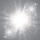 Explosi?n de la estrella con las chispas stock de ilustración