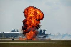Explosie bij luchthaven Stock Foto's
