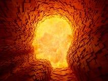 Explosie binnen een gezicht gevormde tunnel Stock Foto's