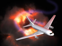 Explosie en vliegtuig op zwarte achtergrond Stock Illustratie