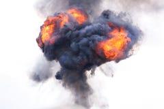 Explosie met brand en rook stock afbeelding