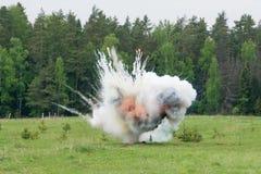 Explosie met rook Stock Foto's