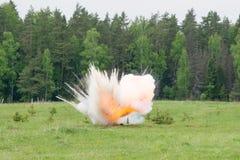 Explosie met rook Stock Fotografie