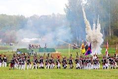 Explosie op het slaggebied Royalty-vrije Stock Afbeeldingen