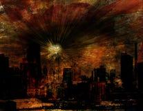 Explosie over NYC royalty-vrije illustratie