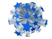 Explosie van blauwe sterren Stock Foto's