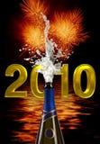 Explosie van cork van de champagnefles Royalty-vrije Stock Afbeeldingen