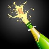 Explosie van Cork van de Fles van Champagne royalty-vrije illustratie