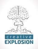 Explosie van creativiteit - menselijke hersenen als kernexplosie Stock Afbeeldingen