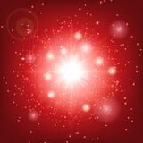 Explosie van een ster op een rode achtergrond Stock Fotografie