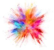 Explosie van gekleurd die poeder op witte achtergrond wordt geïsoleerd Stock Foto