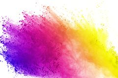 Explosie van gekleurd die poeder, op witte achtergrond wordt geïsoleerd De samenvatting van gekleurd stof splatted kleurenwolk vector illustratie