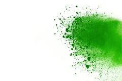 Explosie van gekleurd die poeder, op witte achtergrond wordt geïsoleerd De samenvatting van gekleurd stof splatted kleurenwolk Stock Foto