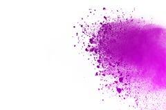 Explosie van gekleurd die poeder, op witte achtergrond wordt geïsoleerd De samenvatting van gekleurd stof splatted kleurenwolk Stock Afbeeldingen