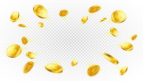 Explosie van gouden muntstukken stock illustratie