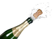 Explosie van groene cork van de champagnefles stock afbeeldingen