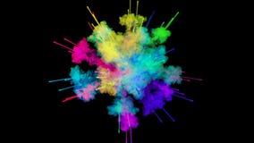 Explosie van poeder op zwarte achtergrond wordt geïsoleerd die 3d animatie van deeltjes als kleurrijke gevolgen als achtergrond o vector illustratie