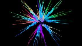 Explosie van poeder op zwarte achtergrond wordt geïsoleerd die 3d animatie van deeltjes als kleurrijke gevolgen als achtergrond o royalty-vrije illustratie