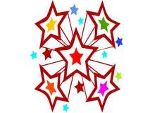 Explosie van sterren en kleur, voor feest en vieringsdoeleinden royalty-vrije illustratie